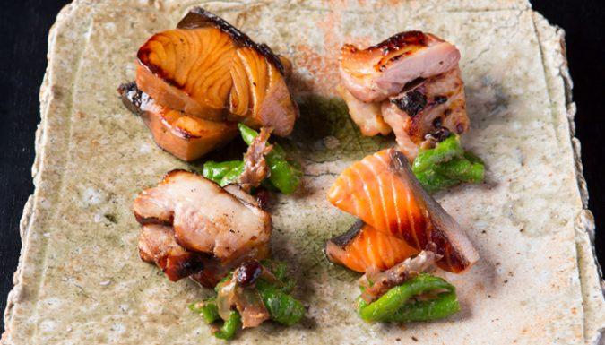 鶏とサーモン塩糀漬け焼き