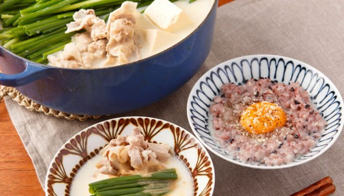 豚肉と青ねぎの豆乳鍋