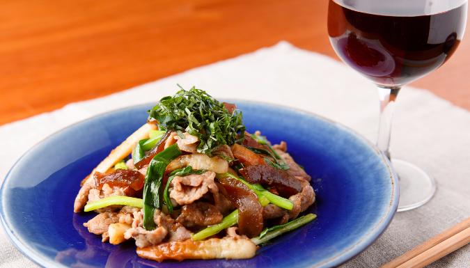 豚肉と白瓜、竹輪の生姜醤油炒め675385