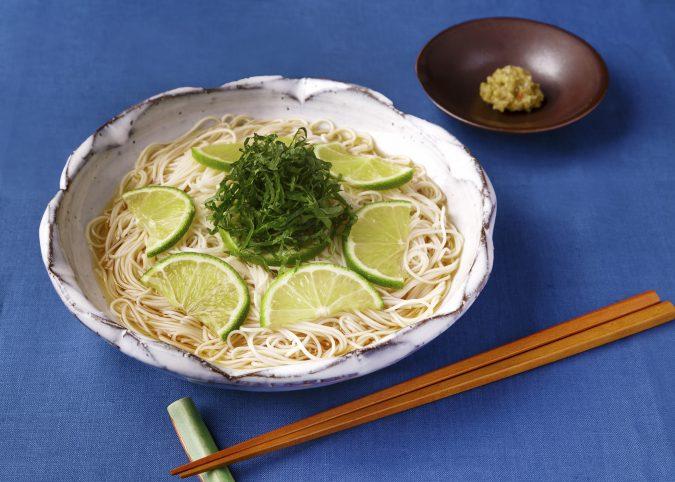 ライムと大葉の素麺