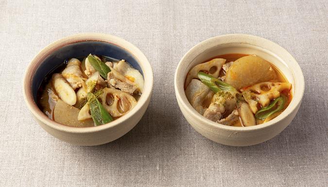 豚肉と根菜のピり辛山椒味噌汁